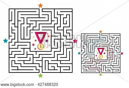 Square Maze Labyrinth Game For Kids. Labyrinth Logic Conundrum With Medal. Four Entrance And Two Rig