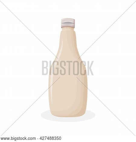 Glossy Plastic Bottle With Round Cap For White Sauce, Dressing, Mayonnaise. Realistic Packaging Mock