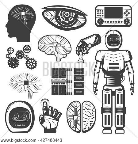 Vintage Artificial Intelligence Icons Set With Robotic Cybernetic Elements Body Parts Cyborg And Mic