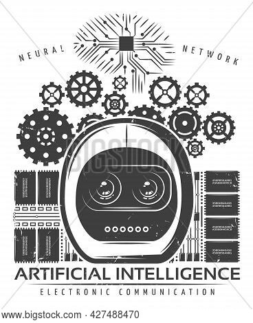 Vintage Artificial Intelligence Label Template With Android Head Mechanical Gears Microchips Cyberne