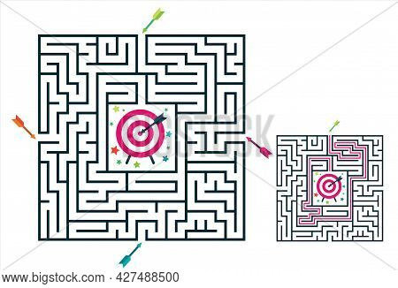 Square Maze Labyrinth Game For Kids. Labyrinth Logic Conundrum With Target And Arrows. 4 Entrance An