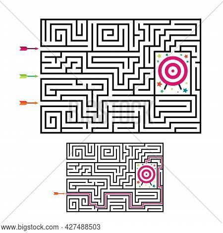 Square Maze Labyrinth Game For Kids. Labyrinth Logic Conundrum With Target And Arrows. 3 Entrance An