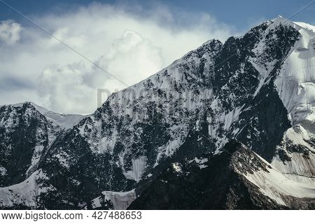 Awesome Mountains Landscape With Black White Snowy Mountain Range Under Cloudy Sky. Minimalist Highl