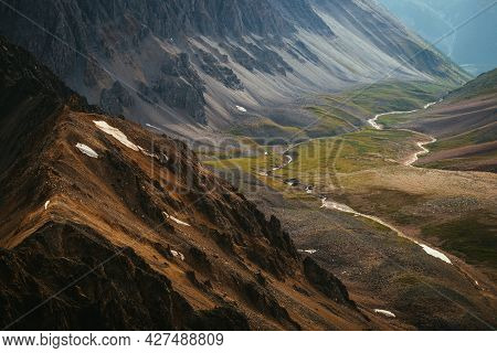 Scenic Mountain Landscape Of Motley Mountain Valley With River. Wonderful View From Sharp Mountain R