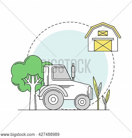 Gardening And Horticulture As Plant Cultivation With Tractor And Barn House Line Round Vector Compos