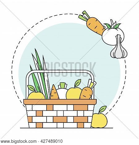Gardening And Horticulture As Plant Cultivation With Harvest Basket Full Of Ripe Organic Product Lin