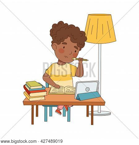 Home Study And Distance Learning With African American Girl In Front Of Tablet Pc Training And Doing