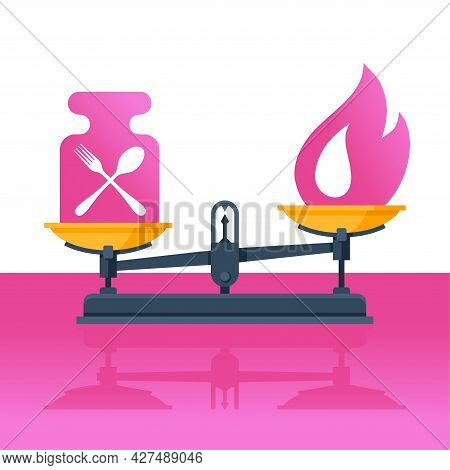 Low Cal And Healthy Nutrition - Weight Scales With Fork, Spoon And Calorie Flame Sign - Visual Aids