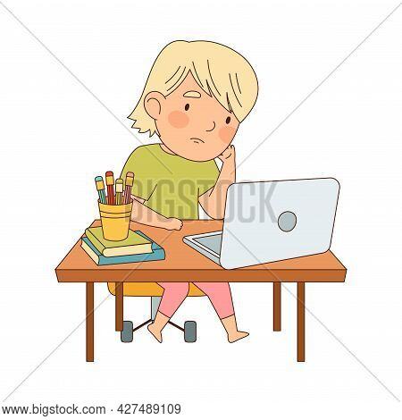 Home Study And Distance Learning With Blond Girl In Front Of Laptop Training And Doing Homework Vect
