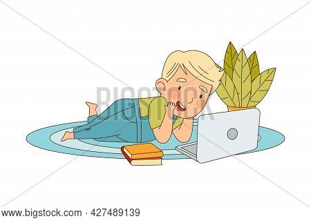 Home Study And Distance Learning With Blond Boy In Front Of Laptop Training And Doing Homework Vecto