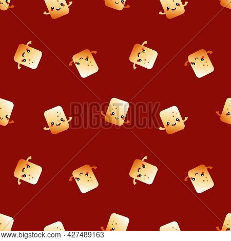 Cute And Little Cartoon Style Golden Brown Toasted Marshmallow Characters Vector Seamless Pattern Ba