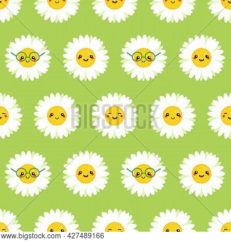 Cute Green Vector Seamless Pattern Background With Camomile, Daisy Flowers Characters.