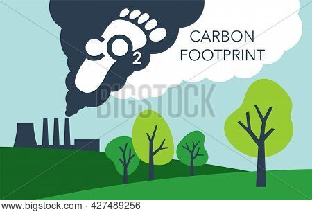 Co2 Emissions - Footprint Of Carbon Dioxide Air Pollution Of Industry. Environmental Footprint With