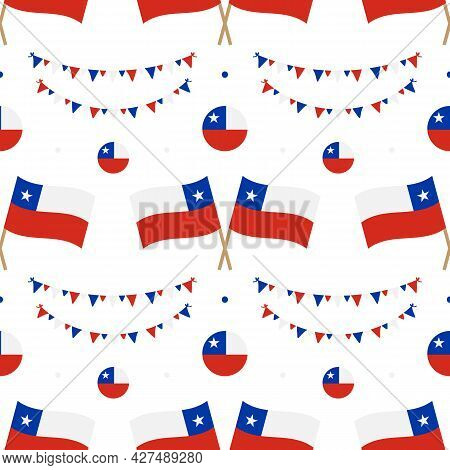 Chile Flags And Decorations Vector Seamless Pattern Background For National And Public Holidays, Ind