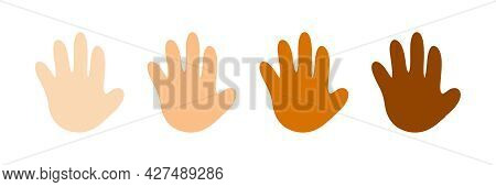 Cute Cartoon Style Human Hands, Open Palms With Different Skin Colors Set, Collection. Vector People