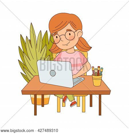 Little Girl At Table In Front Of Laptop Training And Doing Homework As Home Study And Distance Learn