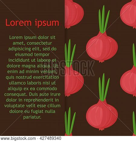 Cute Smiling Cartoon Style Onion, Onion Bulb Vegetable Characters And Hearts Vector Seamless Pattern