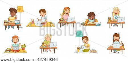 Home Study And Distance Learning With Children In Front Of Laptop And Tablet Pc Training And Doing H