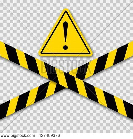Black And Yellow Caution Striped Tapes With Yellow Hazard Warning Attention Sign.