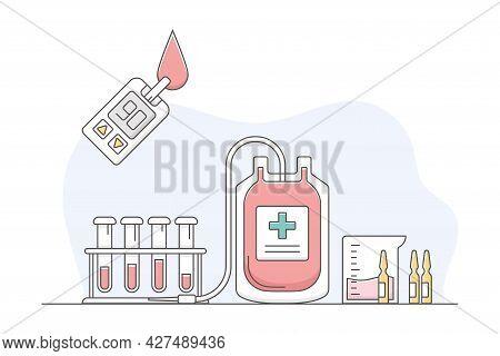 Medicine With Blood Sampling And Testing For Cholesterol Level Line Vector Illustration