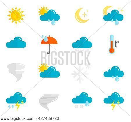 Weather Forecast And Meteorology Symbols Icons Flat Set Isolated Vector Illustration