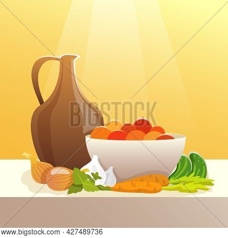 Vegetables And Pitcher On Table Still Life Flat Vector Illustration