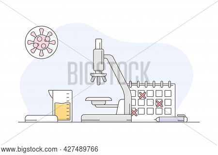 Medicine With Urinary Test And Microscope Line Vector Illustration