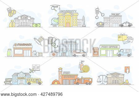 Municipal Services Or City Services For Citizens With Police And Bank Department Vector Set