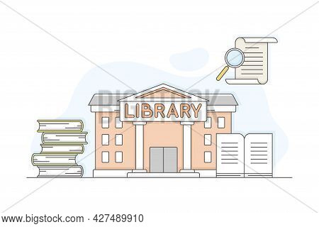 Municipal Or City Services For Citizen With Library Department Vector Illustration