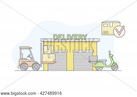 Municipal Or City Services For Citizen With Delivery Department Vector Illustration