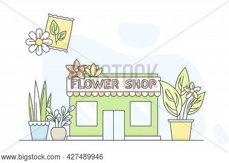 Municipal Or City Services For Citizen With Flower Shop Department Vector Illustration