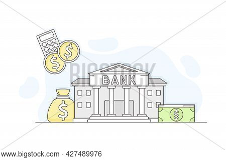 Municipal Or City Services For Citizen With Bank Department Vector Illustration