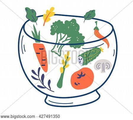 Glass Bowl With Vegetables. Various Salad Ingredients. Tomato, Cucumber, Mushroom, Broccoli, Salad,