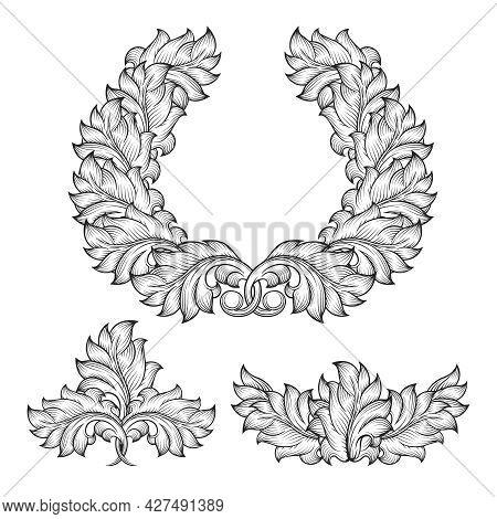 Vintage Baroque Floral Leaf Scroll Ornament Engraving Frame Element Set. Decorative Victorian Retro