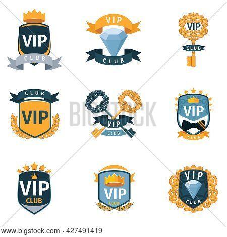 Vip Club Logo And Emblems Vector Set. Luxury Golden Label, Membership Celebrity Illustration