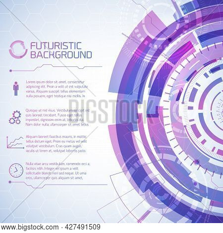 Virtual Technology Background With Composition Of Futuristic Round User Touchscreen Elements And Tex