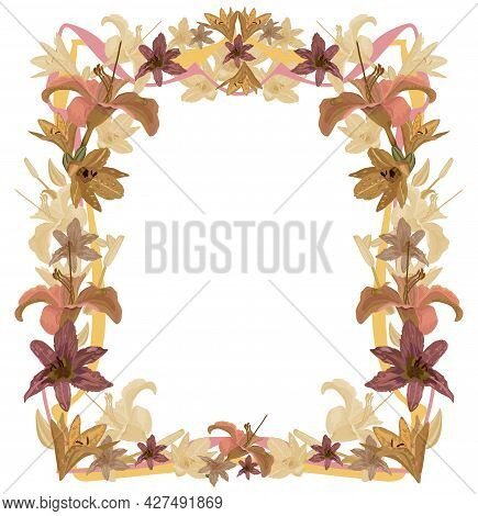 Solemn Frame Of Golden Lilies For Page Decoration On A White Background