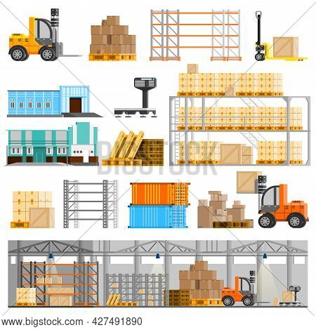 Warehouse Orthogonal Icons Set With Loader And Cargo Flat Isolated Vector Illustration