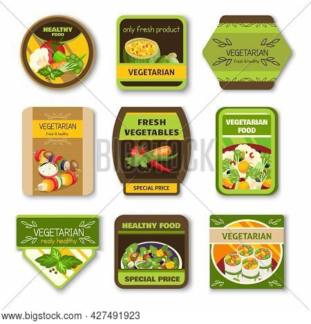 Vegetarian Food Colorful Emblems With Vegetables Verdure Spices For Healthy Lifestyle Isolated Vecto
