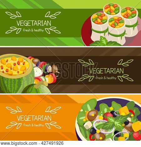 Vegetarian Food Horizontal Banners Set Of Fresh And Healthy Dishes With Mushrooms And Beans Isolated