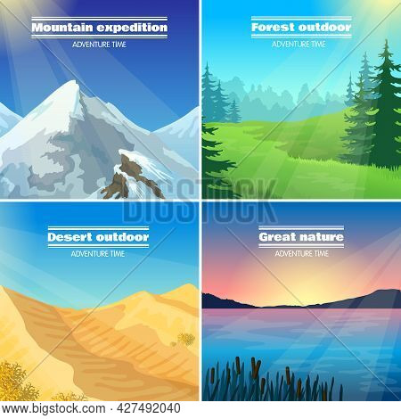 Great Nature Camping 4 Flat Pictograms Collection With Forest Desert And Mountains Expeditions Abstr