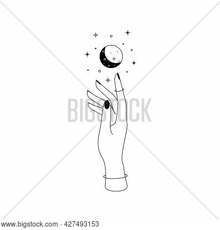 Mystic Celestial Crescent Moon Constellations Over Woman Hand Outline Silhouette. Vector Illustratio