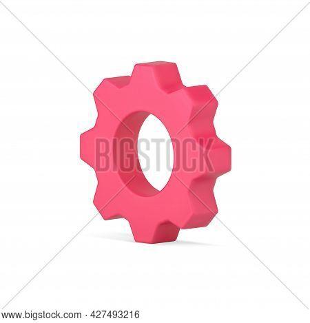 Red Gear 3d Icon. Volumetric Industry Cogwheel