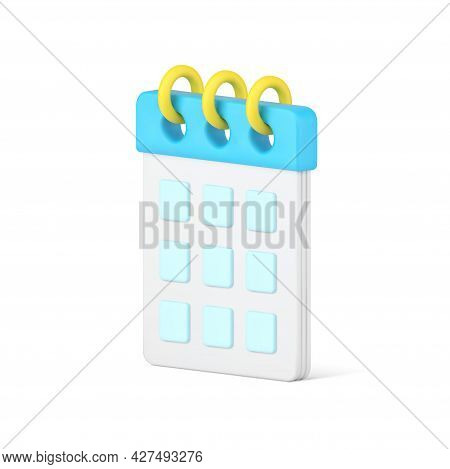 Desktop Organizer 3d Icon. White Calendar Page With Blue Cells For Dates And Notes