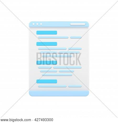 Web Page With Program Code 3d Icon. Software Coding And Development