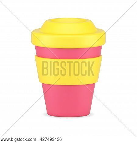 Cup For Coffee 3d Icon. Red Cardboard Container With Yellow Lid And Rim