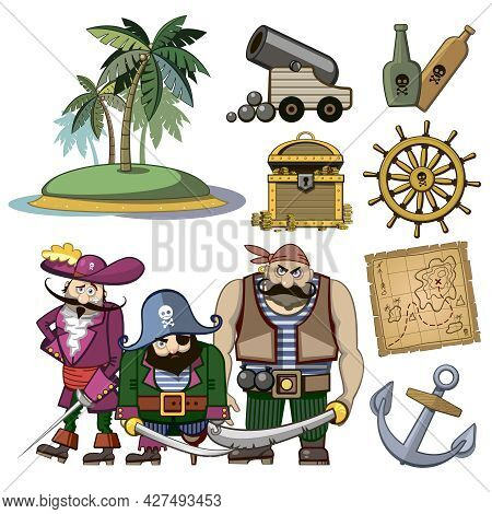 Vector Pirate Characters Set In Cartoon Style. Costume And Palm, Hook And Island, Wealth Treasure, M