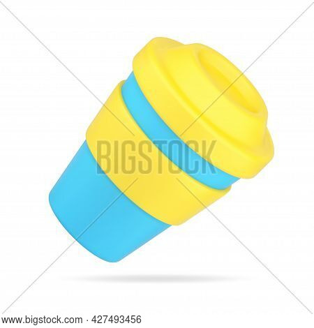 Plastic Cup For Drink 3d Icon. Blue Cardboard Container With Yellow Lid And Rim
