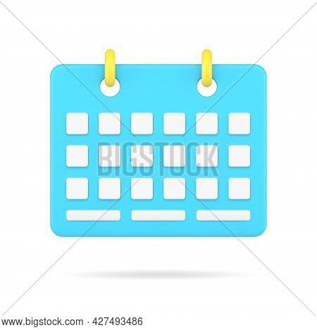 Desktop Business Organizer 3d Icon. Blue Sheet With Date Cells And Yellow Bindings