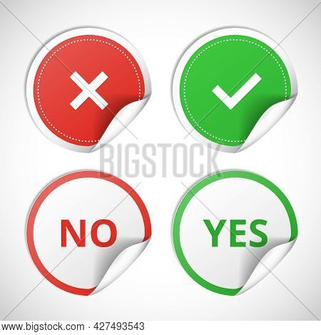 Vector Stickers With Consent And Denial On White Background